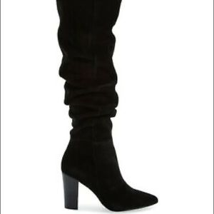 Black Suede Boots Knee high heel pointed shoes